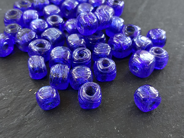 BULK - 30 Navy Blue Rustic Cube Glass Bead - Square Dice Shape Traditional Turkish Artisan Handmade - 7mm - Turkish Glass Beads