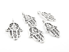 5 Filigree Mini Hand of Fatima Hamsa Charms - Type 2 Side Facing Loop - Matte Antique Silver Plated