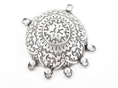 Large Mandala Folk Boho Style Pendant Connector with 5 Loops - Matte Antique Silver Plated - 1PC