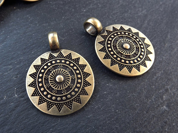 2 Medium Ethnic Sun Mandala Round Disc Pendants with Side Facing - Antique Bronze Plated