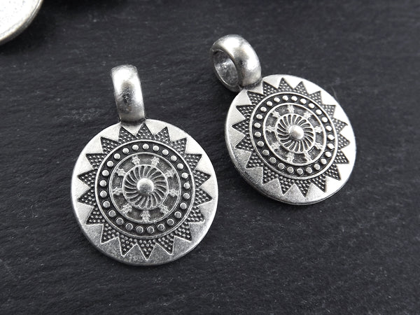 2 Small Ethnic Sun Mandala Round Disc Pendants with Side Facing - Matte Antique Silver Plated