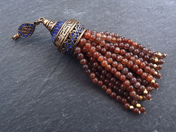 Large Long Brown Jade Stone Beaded Tassel with Crystal Accents Greek Key Pattern - Antique Bronze - 1PC
