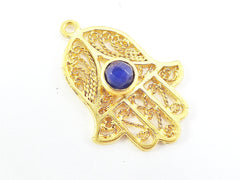 Filigree Hand of Fatima Hamsa Pendant Charm with Royal Blue Facet Cut Jade Accent- 22k Matte Gold Plated