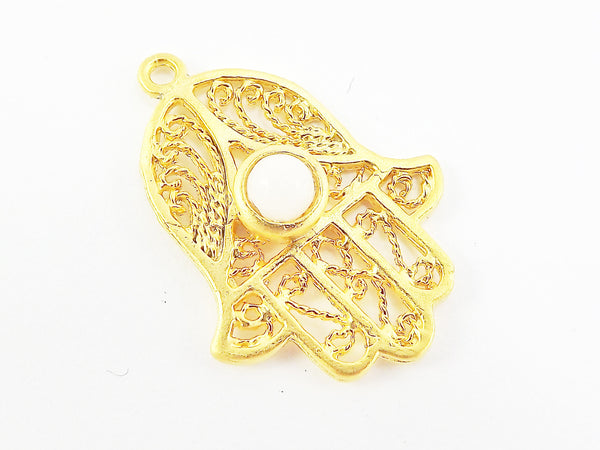 Filigree Hand of Fatima Hamsa Pendant Charm with White Jade Accent- 22k Matte Gold Plated