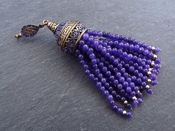 Large Long Purple Jade Stone Beaded Tassel with Crystal Accents Greek Key Pattern - Antique Bronze - 1PC