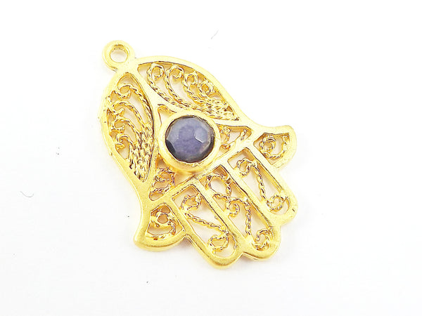 Filigree Hand of Fatima Hamsa Pendant Charm with Smokey Blue Facet Cut Jade Accent- 22k Matte Gold Plated