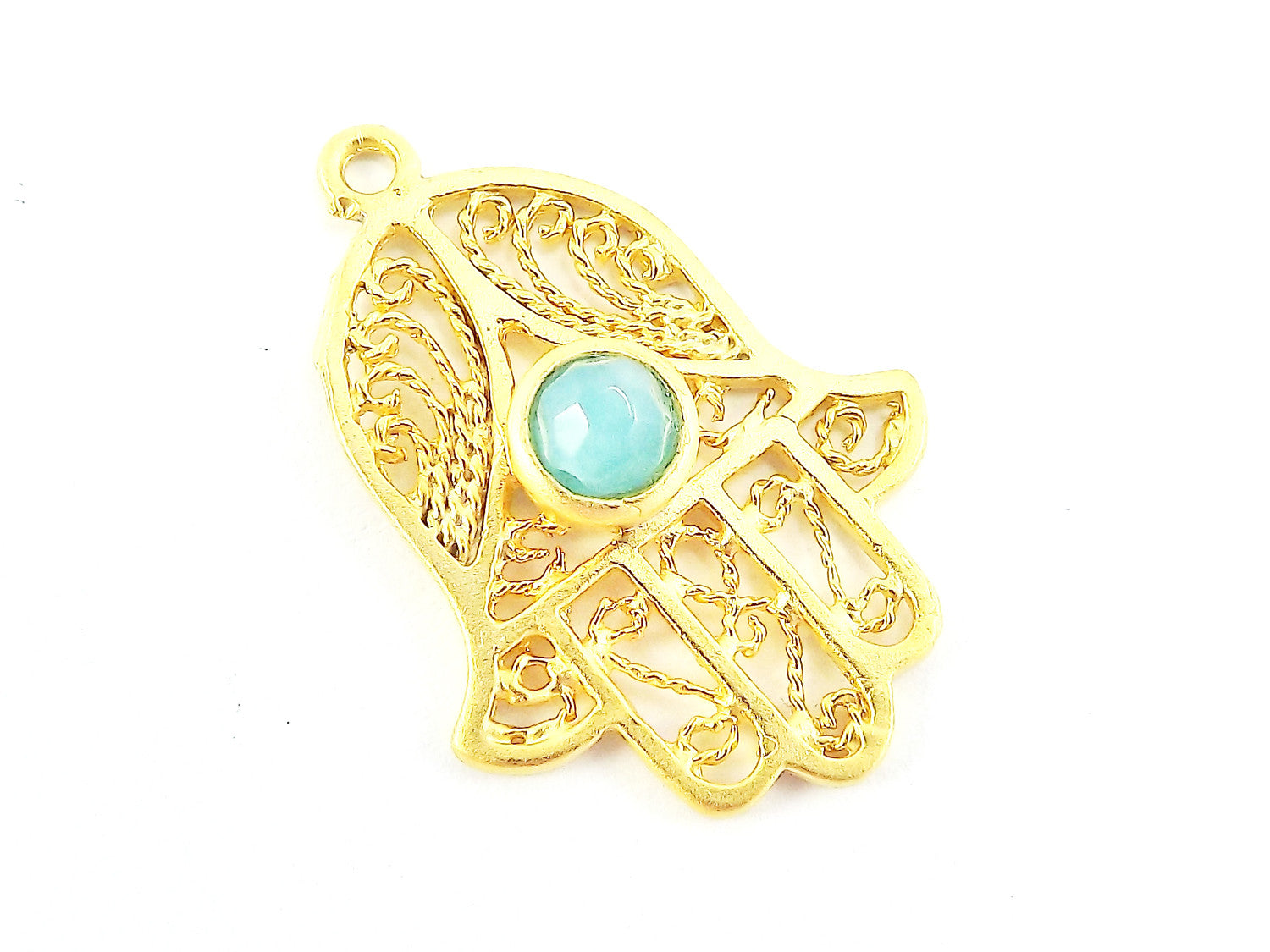 Filigree Hand of Fatima Hamsa Pendant Charm with Aqua Facet Cut Jade Accent- 22k Matte Gold Plated