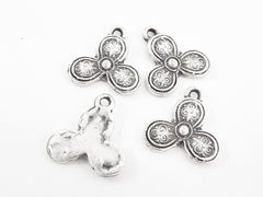 Folk Pattern Flower Boho Charms - Matte Antique Silver Plated