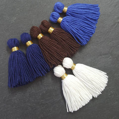 Long Navy Handmade Wool Thread Tassels - 3 inches - 75mm - 2 pc