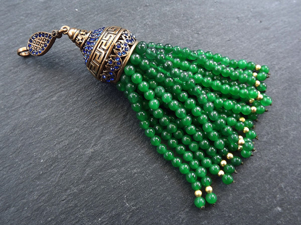 Large Long Emerald Green Jade Stone Beaded Tassel with Crystal Accents Greek Key Pattern - Antique Bronze - 1PC