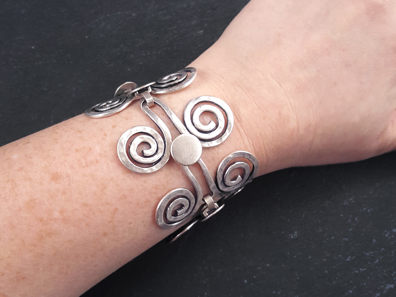Authentic Turkish Style Jewelry Artisan Hammered Spiral Scroll Ethnic Tribal Statement Bracelet