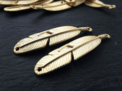 2 Slim Slightly Curved Feather Pendant Charms - 22k Matte Gold Plated