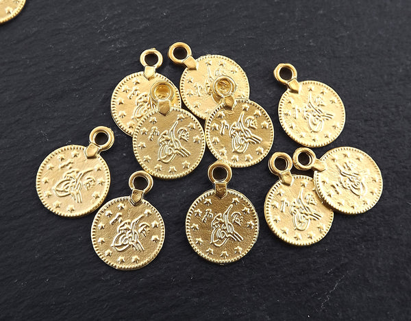 Gold Coin Charms, Ethnic Ottoman Coin Pendants, Medallion Pendants, Turkish Coin Beads, Tribal, Ancient Beads, 22k Matte Gold Plated, 20pcs