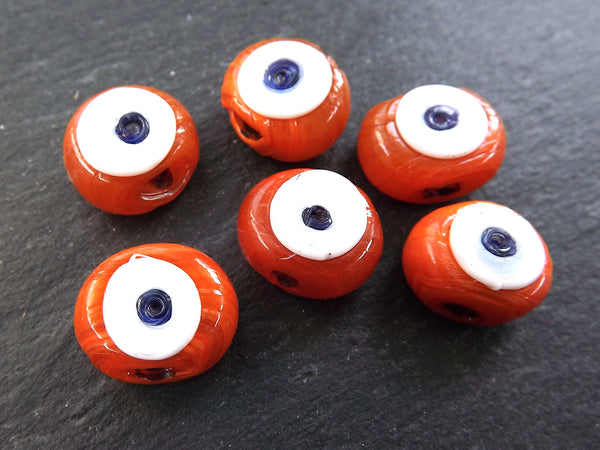 6 Orange Tone Shades Evil Eye Nazar Glass Bead Traditional Turkish Handmade Protective Lucky Amulet 16 mm - VALUE PACK - Turkish Glass Beads