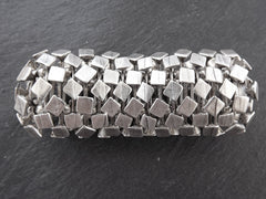 Squares Stretchy Silver Statement Bracelet - Authentic Turkish Style