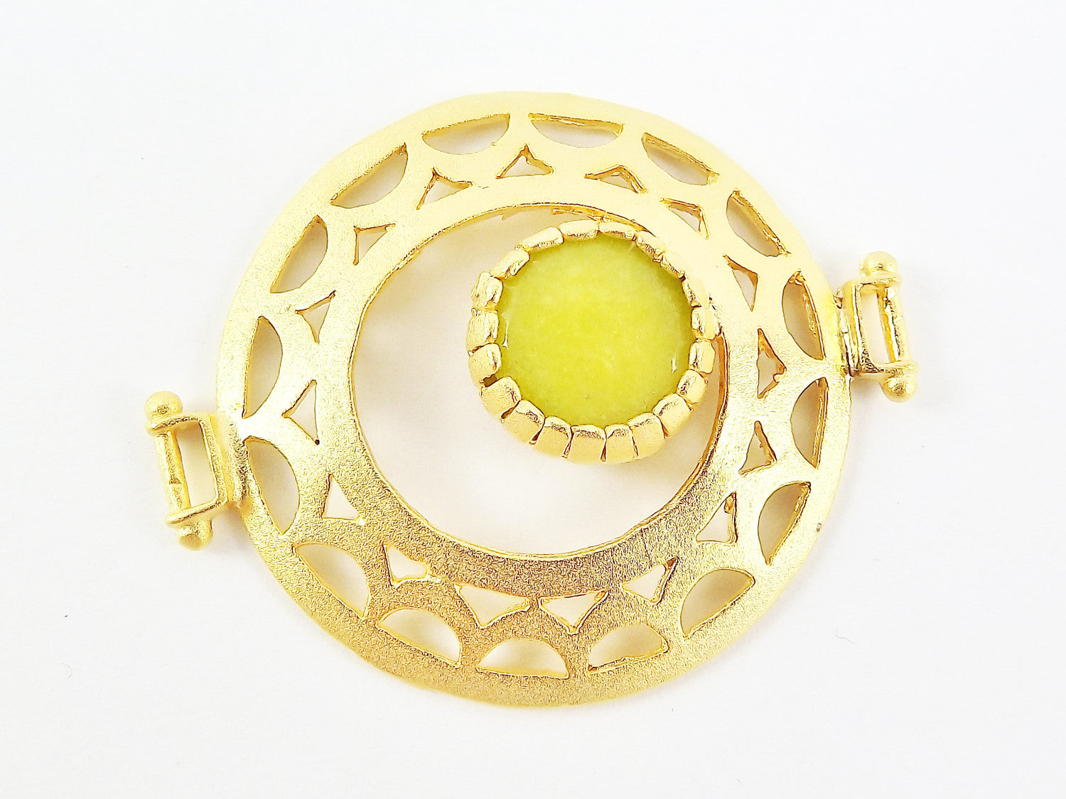 Lime Green Jade Stone Fretworked Circle Connector Pendant - 22k Matte Gold Plated - 1PC
