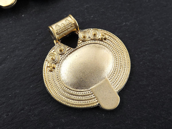 Nepalese Style Oval Artisan Heart Pendant Ethnic Tribal Pattern Rajasthan - 22k Matte Gold Plated - 1pc