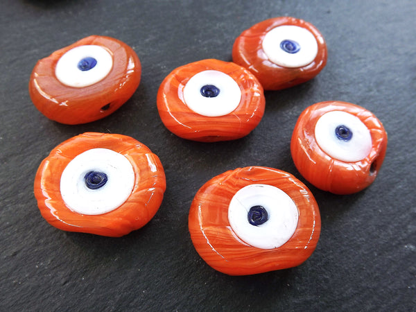6 Orange Tone Shades Evil Eye Nazar Glass Bead Traditional Turkish Handmade Protective Lucky Amulet 26 mm VALUE PACK - Turkish Glass Beads