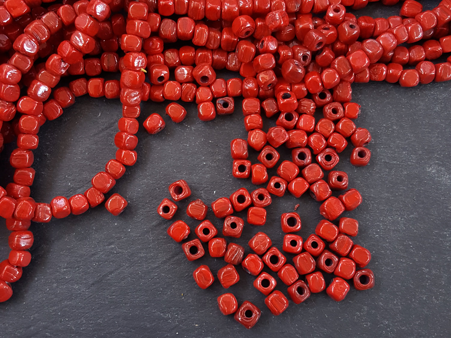 dice cube artisan products turkish red rustic bead poppy beads in handmade traditional shape glass bulk square buy