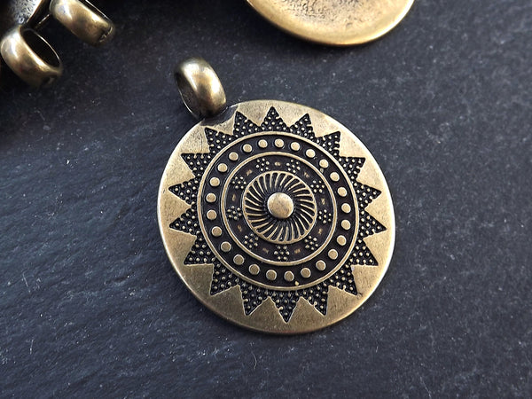Large Ethnic Sun Mandala Round Disc Pendants with Side Facing - Antique Bronze Plated - 1pc