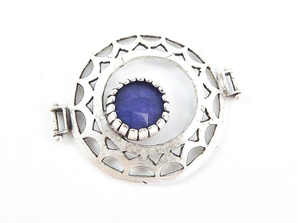 Royal Blue Jade Stone Fretworked Circle Connector Pendant - Matte Silver Plated - 1PC