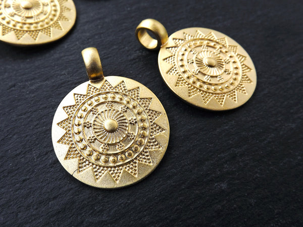 2 Medium Ethnic Sun Mandala Round Disc Pendants with Side Facing - 22k Matte Gold Plated