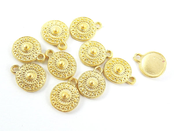 10 Mini Round Tribal Charms - 22k Matte Gold Plated