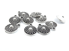 10 Mini Round Tribal Charms - Matte Antique Silver Plated