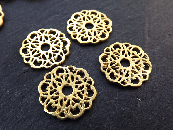 Gold Lace Charms, Round Rustic Fretwork discs, Disc Charms, Disc Connectors, Lace Connectors, Earring Pendant, 22k Matte Gold Plated, 4pc