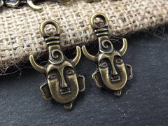 Tribal Ethnic Mask Pendant Charms - African Mask with Horns - Antique Bronze Plated - 2PC
