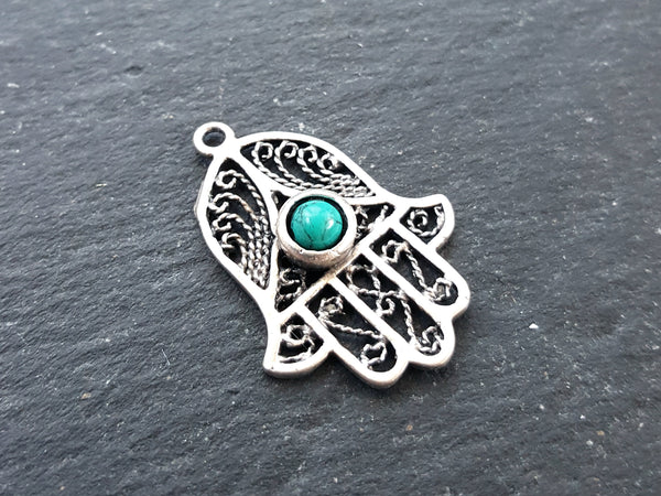 Filigree Hand of Fatima Hamsa Pendant Charm with Smooth Turquoise Stone Accent - Antique Matte Silver Plated