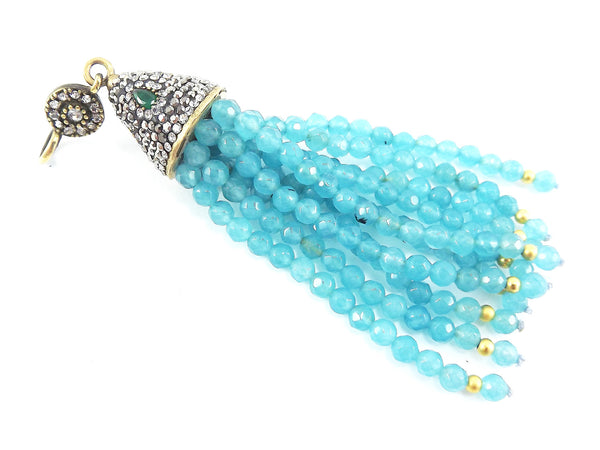 Large Long Aqua Facet Cut Jade Stone Beaded Tassel with Encrusted Crystal Accents - Antique Bronze - 1PC