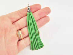 NEW Grass Green Afghan Tibetan Heishi Tube Beaded Tassel - Handmade - Tibetan Style Shiny Silver Plated Cap - 92mm 1PC