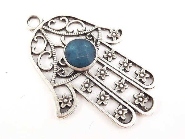 Extra Large Hamsa Hand of Fatima Pendant Round Jean Blue Jade - Matte Anitque Silver Plated - 1PC