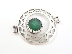 Emerald Green Jade Stone Fretworked Circle Connector Pendant - Matte Silver Plated - 1PC