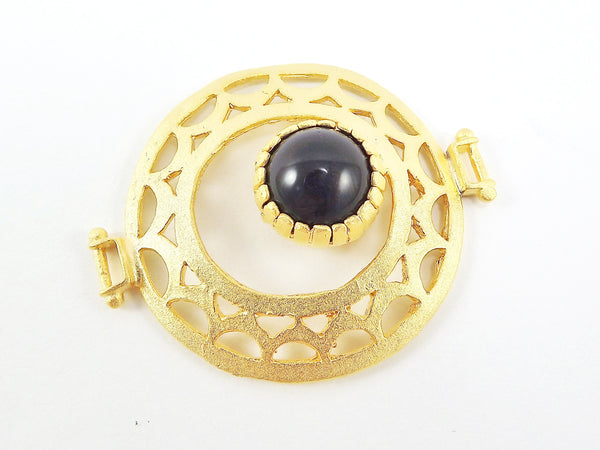 Black Onyx Stone Fretworked Circle Connector Pendant - 22k Matte Gold Plated - 1PC