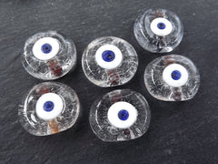 6 Clear Evil Eye Nazar Glass Bead Traditional Turkish Handmade Protective Lucky Amulet 26 mm VALUE PACK - Turkish Glass Beads