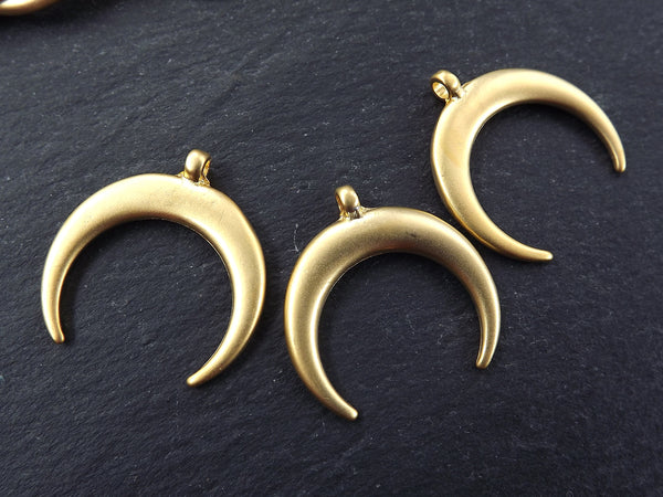 3 Medium Crescent Pendant Tribal Double Horn Pendant - 22k Matte Gold Plated Turkish Jewelry Making Supplies Findings Components - 3Pc