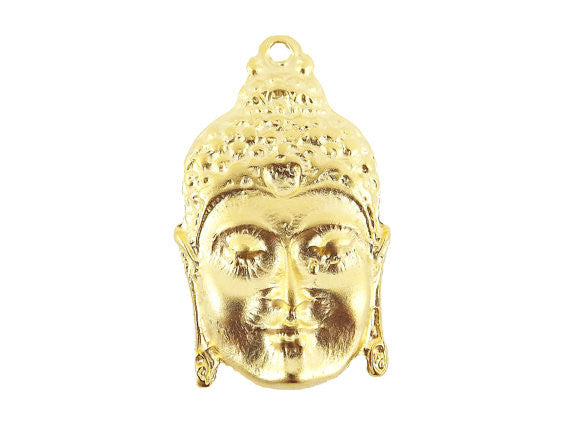 Large Buddha Face Pendant Connector 22k Matte Gold Plated - 1PC