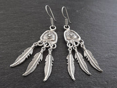 Dangly Feather Tribal Silver Earrings - Authentic Ethnic Turkish Style