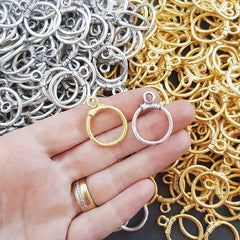 4 Rustic Cast Closed Loop Ring Pendant - 22k Matte Gold Plated - 1 PC