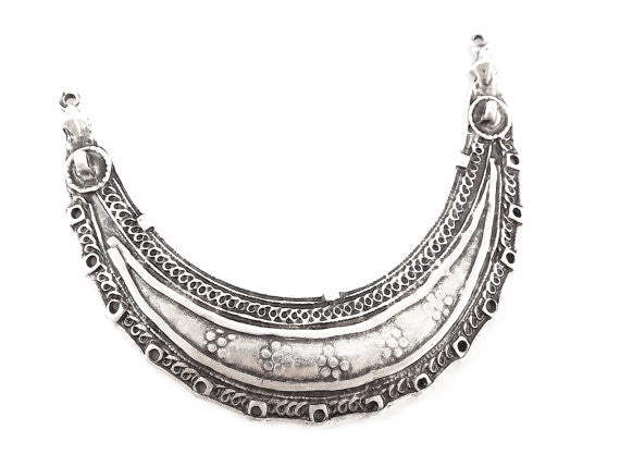 Ethnic Tribal Necklace Focal Collar Pendant Connector with 14 Holes - Matte Silver Plated - 1PC