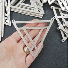 Extra Large Fretwork Triangle Minimalist Geometric Pendant - Type 1 - Matte Antique Silver Plated - 1pc