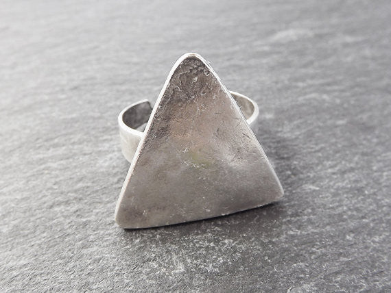 Triangle Adjustable Silver Ethnic Tribal Boho Geometric Statement Ring