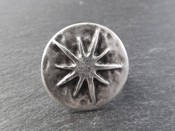 Star Struck Round Adjustable Silver Ethnic Tribal Boho Statement Ring