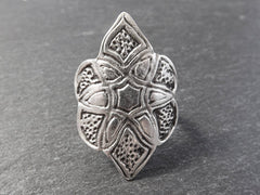 Ethnic Marquise Adjustable Silver Ethnic Tribal Boho Statement Ring