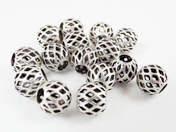 8mm Silver Plated Round Filigree Beads Spacers - 15 PCs