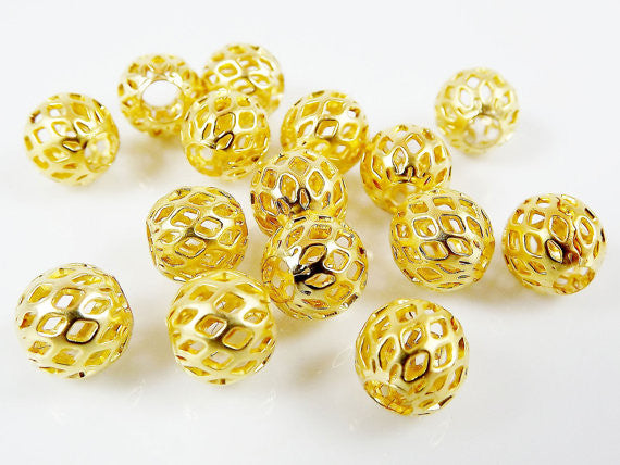 8mm Gold Plated Round Filigree Beads Spacers - 15 PCs