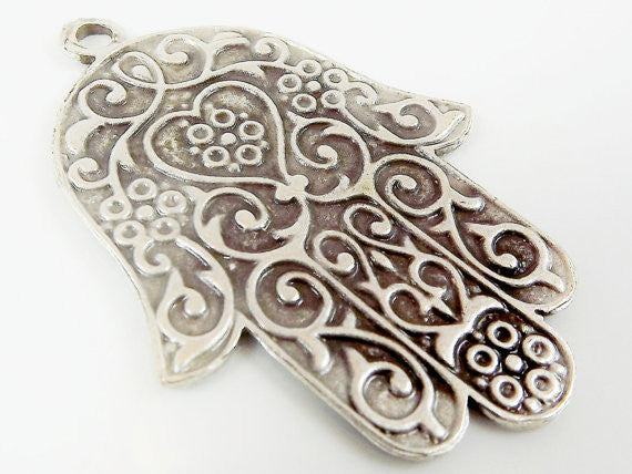 Ornate Hamsa Hand of Fatima Pendant Charm - Silver Plated - 1PC