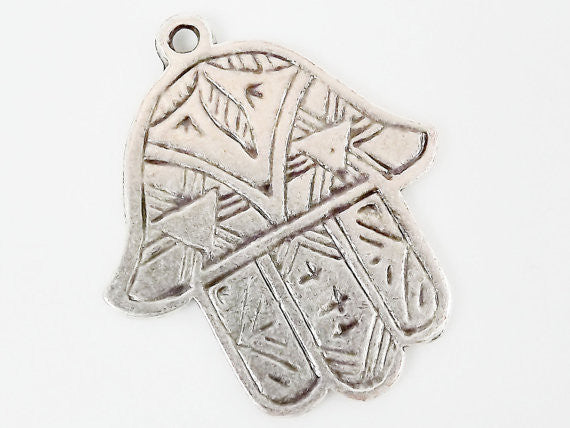 Etched Hamsa Hand of Fatima Pendant Charm - Silver Plated - 1PC